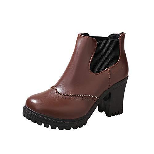 Zyueer À La Talons Chaussures Aiguilles Martin Mode Marron Femmes Carré Haut D'hiver Talon Bottes rEqrBw4