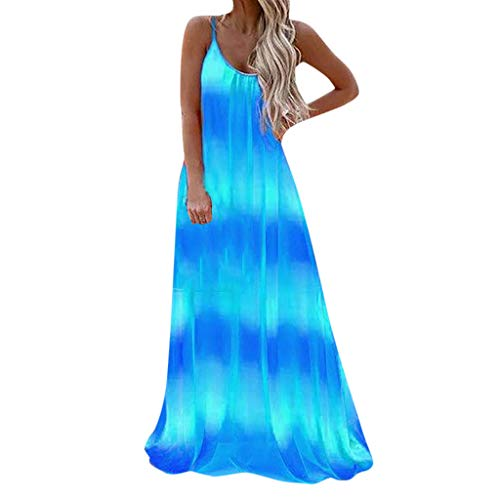Xiaoa_clothes Women's Summer Casual Loose Long Dress Sleeveless Strap Off Shoulder Sexy Round Neck Beach Maxi Dresses Blue