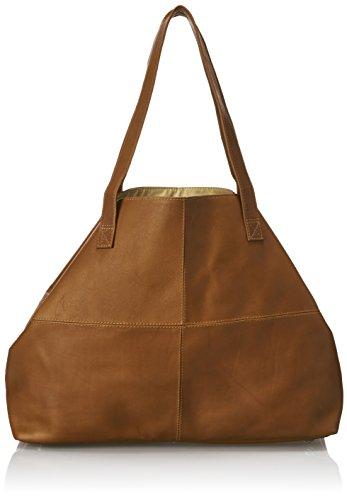 (Piel Leather Large Open Multi-Purpose Tote, Saddle)