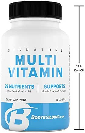 Bodybuilding Signature Multivitamin Tablets | Adult Vitamin | Nutrient Supplement | Gluten Free | 90 Count