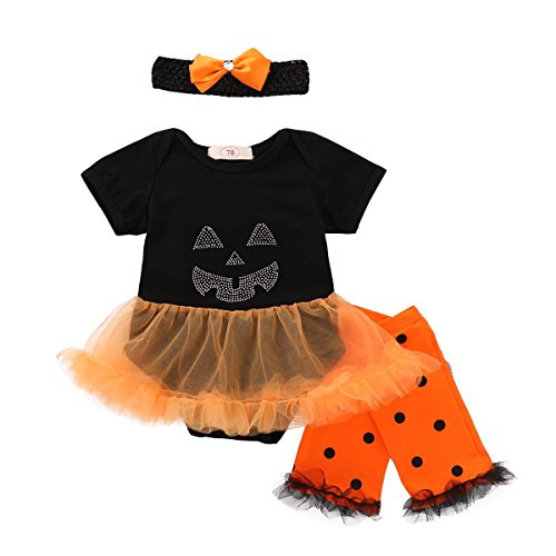 Orange Bow Socks - BELS Baby Girl Halloween Clothes Tutu Romper + Dots Leg Warmer with Bow Headband Outfit (Black, 0-3M)