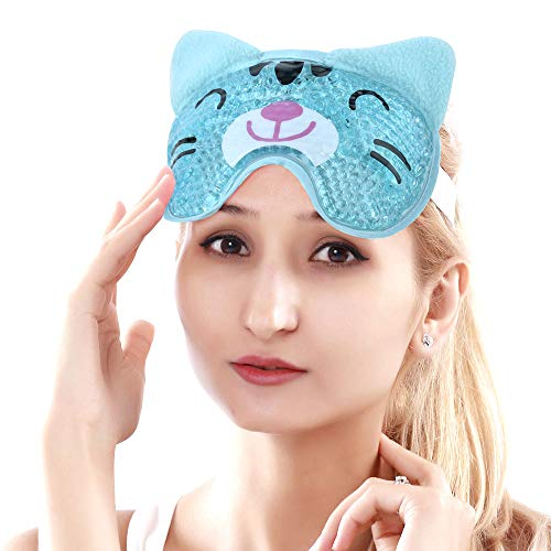 Cooling Eye Mask for Puffy Eyes Soft Cold Eye Mask with Gel Bead, Cute Eye Mask Gel Face Mask for Migraines and Headaches - Cat Blue
