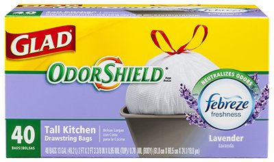 Clorox-The-78459-Tall-Kitchen-Trash-Bags-White-Odor-Shield-Lavender-13-Gal-40-Ct