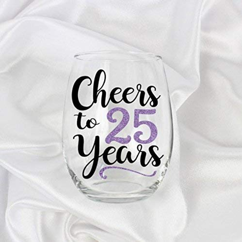 Gifts for 25 Year Old Woman 25th Birthday for Her Stemless Wine Glass 21oz 0106