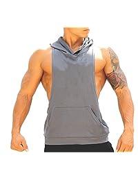Q&Y Men's Muscle Cut Bodybuilding Stringer Hoodie Gym Tank Top Racerback Hoodie Tee