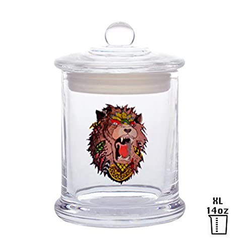 Vapors & Things Clear Glass Odorless Medical Herb Jar Stash Container (XL – 14oz, LION) - 14 Oz Glass Jar