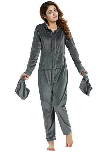 HOTOUCH Women's Drop Seat Pajamas Ladies Onesie Hoodie Jumpsuit Playsuit with Pockets Gray XL ()