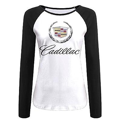 Creamfly Womens Cadillac Logo Long Sleeve Raglan Baseball Tshirt