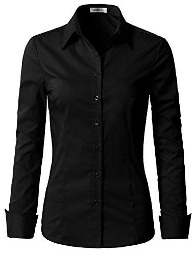 Doublju Womens Slim Fit Plain Classic Long Sleeve Button Down Collar Shirt Blouse Black Small