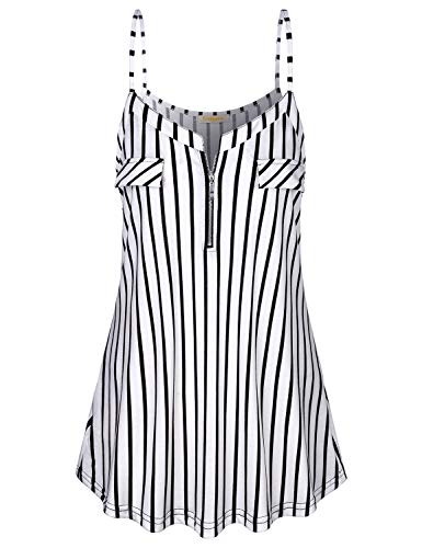 (Baikea Work Blouses for Women Fashion 2019, Ladies Boat Neck Front Zipper Sleeveless Strappy Tank Tops with Fake Pockets Backless Leisure Elegant Cami Black & White XL)