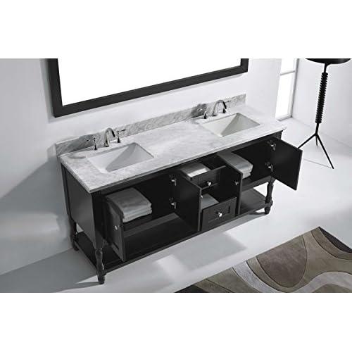"50%OFF Virtu MD-3172-WMSQ-ES Julianna Double Bathroom Vanity Cabinet Set, 72"", Espresso"