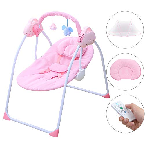 CBBAY Baby Swing Chair Electric Cradle Automatic Bassinet Baby Basket Bed Newborn Crib Rocking Music Sleeping (Pink)