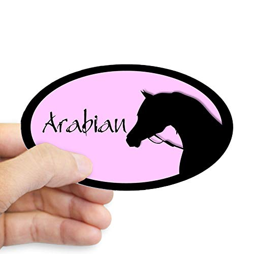CafePress Arabian Horse in Halter Pink/Black Oval Sticker Oval Bumper Sticker, Euro Oval Car Decal (The Best Dressage Horse In The World)