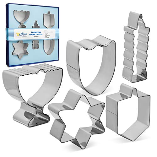 (Aviv Judaica Hanukkah Cookie Cutters Set Stainless Steel Cookie Cutters - 5 Fun Cookie Molds Chanukah Shapes - Menorah - Dreidel - Candle - Maccabee Shield - Star of David)