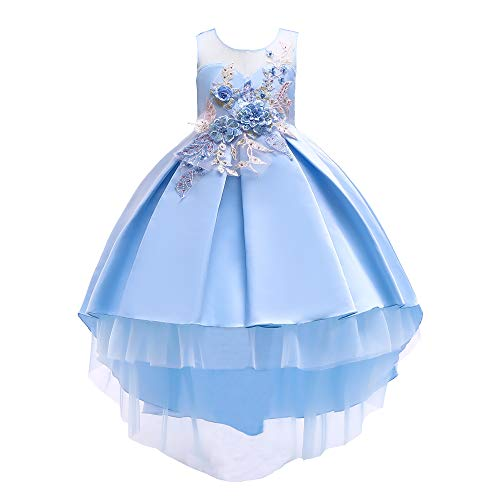 AIMJCHLD A Line Sleeveless Round Neck Flower Girl Dresses Summer Wedding Party Dress Pageant Prom Gowns Christmas Easter Halloween Birthday Holiday Dresses Size 7T 8T (Blue 130)