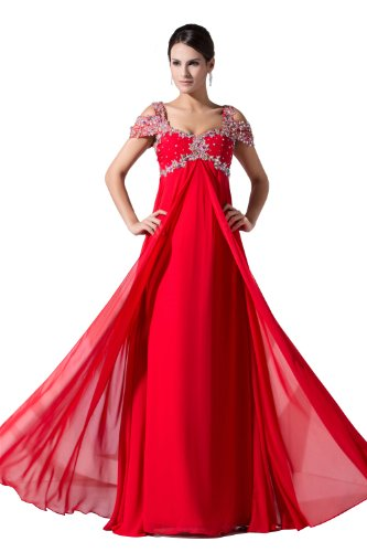 herafa p31031-8 Evening Gowns Elegant Off Shoulder Cap Sleeve Delicate Beading Long 0 A-Line Red