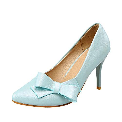 MissSaSa Damen süß high-heel Low-cut Pointed Toe Pumps mit Schleife Blau