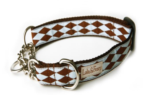 Lola and Foxy Joker Blue with Brown Diamonds Martingale Dog Collar, 1-Inch Wide, Medium (10-Inch by 16-Inch Neck Size)