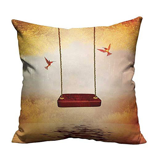 (YouXianHome Pillowcase with Zipper Red Hammock and Hummingbird in A Peaceful Lake Fantasy Fairytale Scene Ultra Soft & Hypoallergenic (Double-Sided Printing) 21.5x21.5 inch)