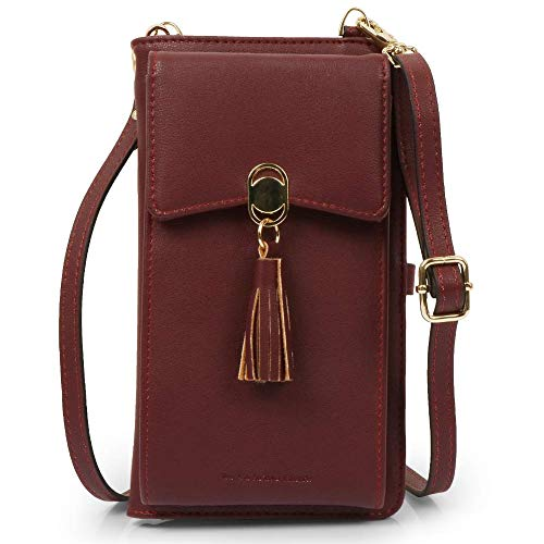 Women Rfid Blocking Credit Card Wallet Purse Cell Phone Crossbody Small Bag (Wine Red)