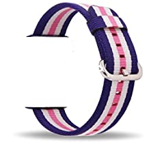 Smart Watch Band, Uitee Woven Nylon Band for Apple Watch 38mm Series 1 & 2, Uniquely and Artistically Designed Replacement Strap, Comfortably Light With Fabric-Like Feel (2017 Fashion Colorful)