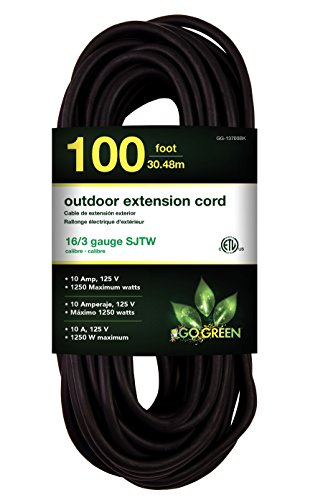 GoGreen Power GG-13700BK - 16/3 100' SJTW Outdoor Extension Cord - Black
