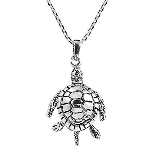 AeraVida Movable Sea Turtle Swimming .925 Sterling Silver Pendant Necklace