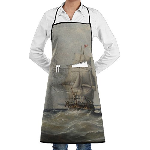 LCZ Ebenezer Colls Vessel Stormy Waters Fashion Waterproof Durable Apron With Pockets For Women Men Chef -