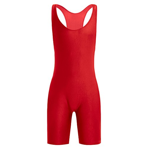 FEESHOW Men's Wrestling Singlet One Piece Sport Bodysuit Leotard Gym Outfit Underwear Red Medium (Suit Wrestling)