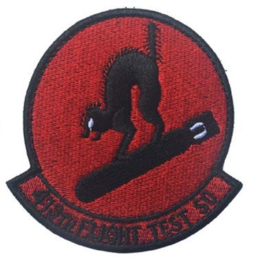Air Force Black Ops Area 51 413th Flight Test Squadron Bomb Cats 3D Tactical Military Badges Embroidered Patch Back with Loops and Hook