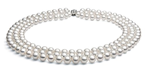 14k White Gold Triple Strand White Akoya Cultured Pearl Necklace AA+ Quality (5-5.5mm), 18