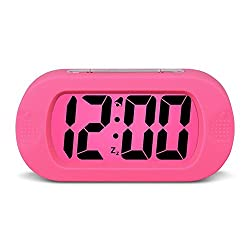 HENSE Large Digital Display Alarm Clock and Snooze/Nightlight Travel Alarm Clock and Home Bedside Alarm Clock,Battery operated,Shockproof,Excellent Back-to-school Gift for Kids/Teens HA30 (Rose Red)