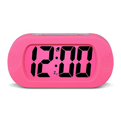 Rose Display Clock - HENSE Large Digital Display Alarm Clock and Snooze/ Nightlight Travel Alarm Clock and Home Bedside Alarm Clock,Battery operated,Shockproof,Excellent Back-to-school Gift for Kids/Teens HA30 (Rose Red)