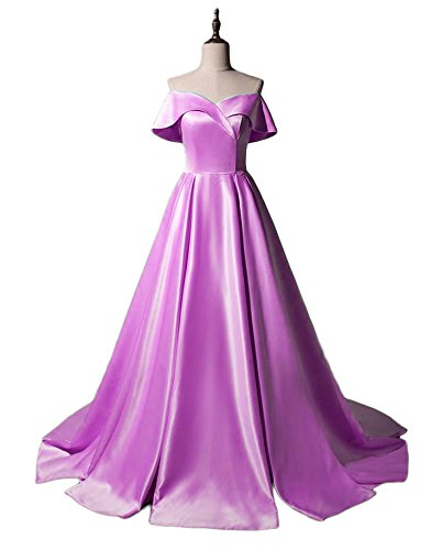 2018 Gowns Ball Cap Women's Dresses Prom Sleeves A Party DreHouse Long Satin Line Lilac R75nvwP