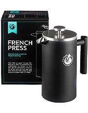 French Press Kaffekanna i dubbelväggigt rostfritt stål svart pressfilterkanna fransk kaffepress …