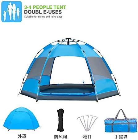 3〜4人ポータブルダブルレイヤーポップアップテント防風と防水キャンプテントビーチ屋外旅行ハイキングキャンプ狩猟,Blue