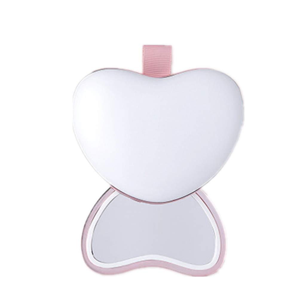 HXMSXROMID Handwärmer Mini LED Nachtlicht Portable Travel Vanity Spiegel USB Lade Power Bank Doppelseitige Heizung Geburtstag Herzform