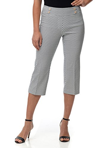 Rekucci Women's Ease in to Comfort Fit Capri with Button Detail (4,Khaki Medallion)