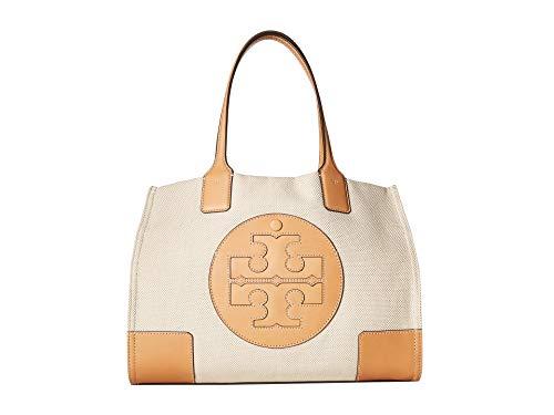(Tory Burch Women's Ella Canvas Tote Tan Handbag Mini, Natural, Natural )