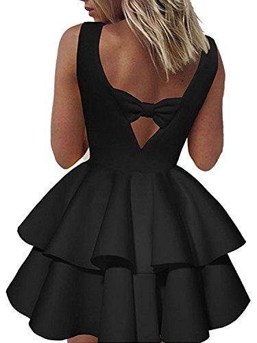 Minetom Mujeres Verano Dulce Cuello Redondo Sin Mangas Mini Vestido Moda Escotado Por Detrás Bowknot Una Línea Dress Coctel Banquete Negro