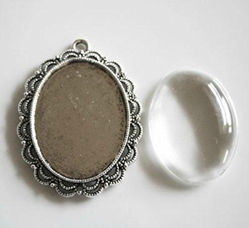 - 10 Pack Large Oval Lace Edge Vintage Silver Pendant Trays 40x30mm Includes Bonus Ez Photo Jewelry Software