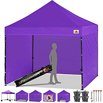 ABCCANOPY Tents Canopy Tent 10 x 10 Pop Up Canopies Commercial Tents Market stall with 4 Removable Sidewalls and Roller Bag Bonus 4 Weight Bags and 10ft Screen Netting and Half Wall by ABCCANOPY