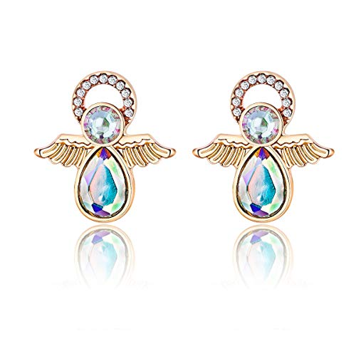 - Vintage Christmas Angel Wings Piercing Stud Earring Rhinestone Gold Plated Women Girls Holiday Gift