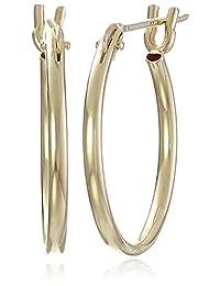 """10k Yellow Gold Hoop Earrings, (0.6"""" Diameter)"""