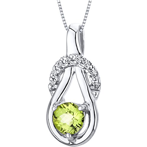 Peridot Pendant Necklace Sterling Silver Checkerboard Cut 0.50 Carat
