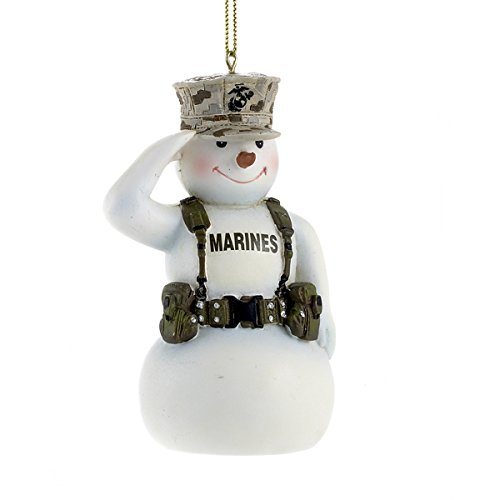 Country Snowman Ornament (United States Marine Corps Saluting Snowman USMC Christmas Ornament MC2132 New)