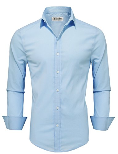 Tom's Ware Mens Casual Slim Fit Basic Dress Shirts TWFD001-1-CMS07-SKYBLUE-US L