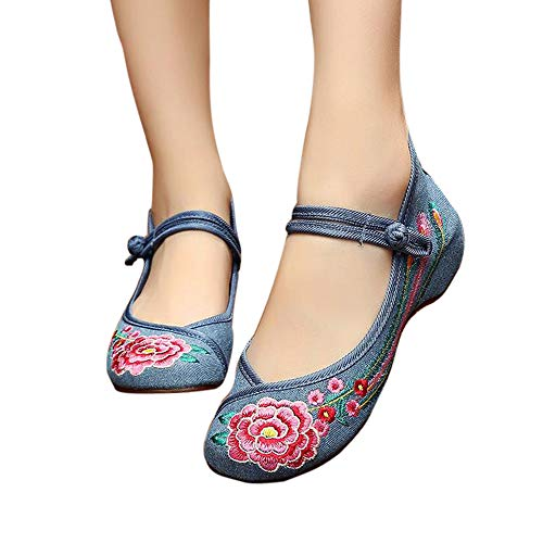 Ballet 104 Embroidered Loafers Blue Comfortable Shoes Chinese Flats Women's Embroidery CINAK Style Flowers aAzZwxpx