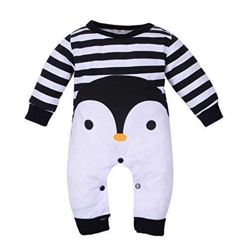 Penguin Jumpsuit, Unisex Baby Newborn Infant Cartoon Penguin Print Striped Romper Jumpsuit Long Sleeve Pajamas Sleep Outfit For 0-18M (Black, 3M) (Striped Fleece Coveralls)