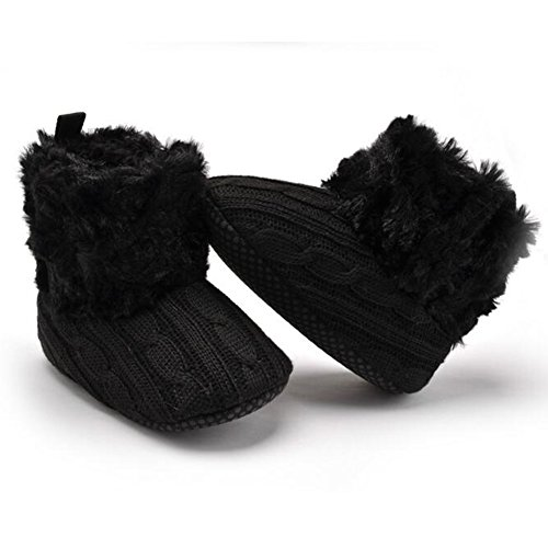 Highdas Bebé Zapatos Infants Crochet Knit Fleece Botas Niñito Girl Boy Wool Snow Crib Zapatos Invierno Booties Negro